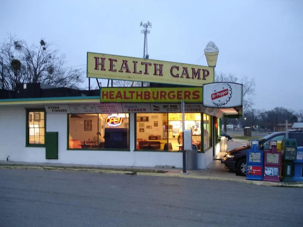 Health Camp burger stand in Waco, Texas