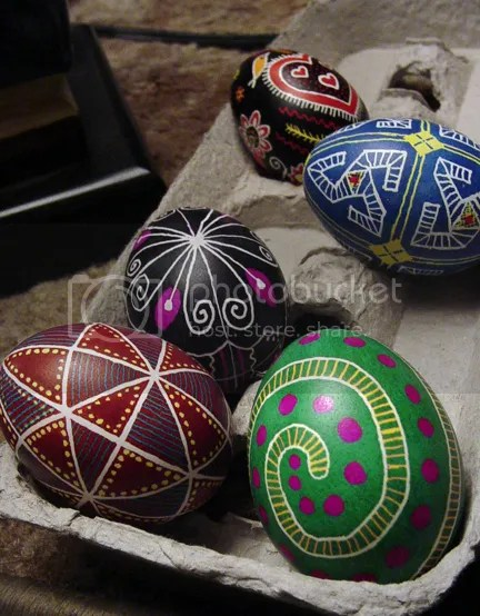 a selection of pysanky