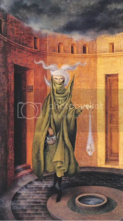 woman leaving the psychoanalyst's office by remedios varo (1/6)