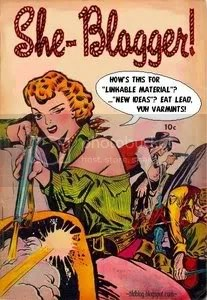A pulp-fiction style cover of a woman with a rifle shooting at targets