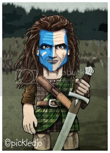 Braveheart, mel gibson caricature