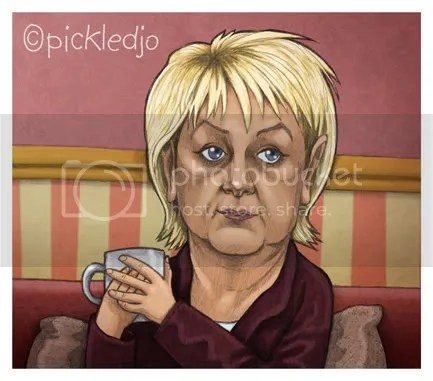 Eileen Grimshaw Cartoon, caricature, Corrie, Coronation Street.