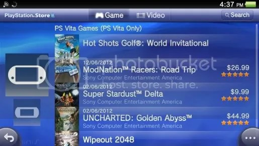 The US PlayStation Network's PS Store Vita section is