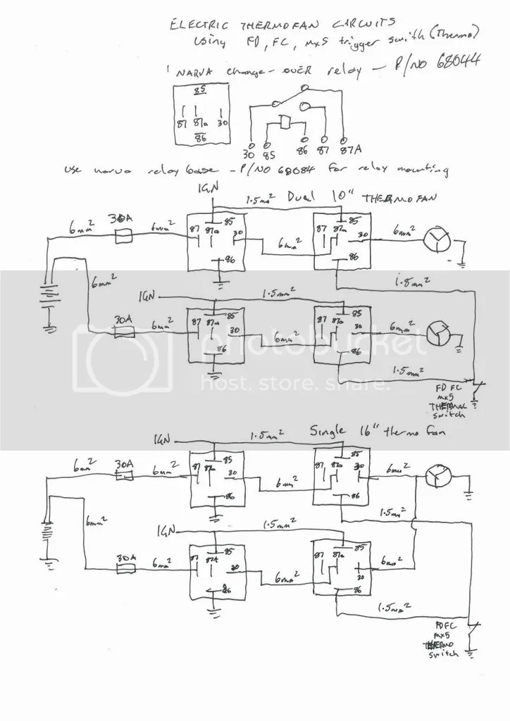 vz thermo fan wiring diagram whelen wig wag how to properly set up electric s ausrotary if you only want the fans work when ignition is on then remove link from terminal 85 87 connect an source