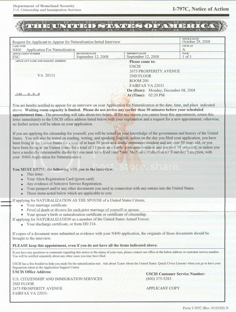 Naturalization Form N