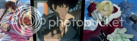 Left to right: Rurouni  Kenshin, Cowboy  Bebop, Fullmetal Alchemist.