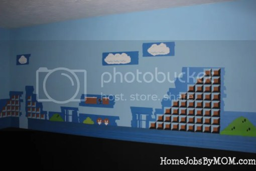 taped and partially painted mario wall