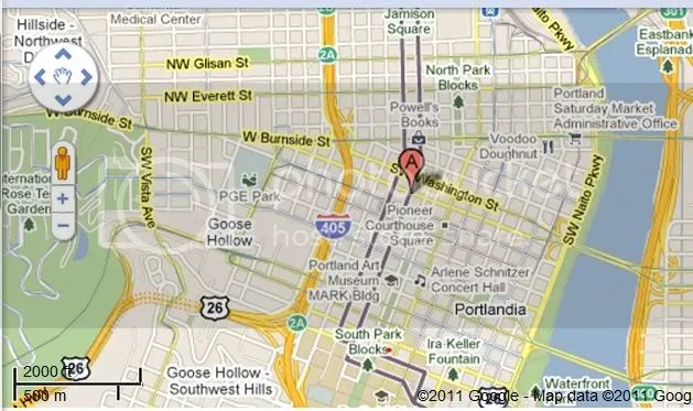 From the A to red dot (due south) - just a walk or streetcar ride.