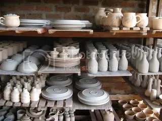Bisque-fired pottery, which our tour guide referred to as biscuit fired