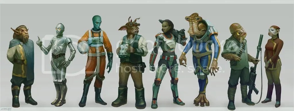 A selection of Star Wars species from Age of Rebellion