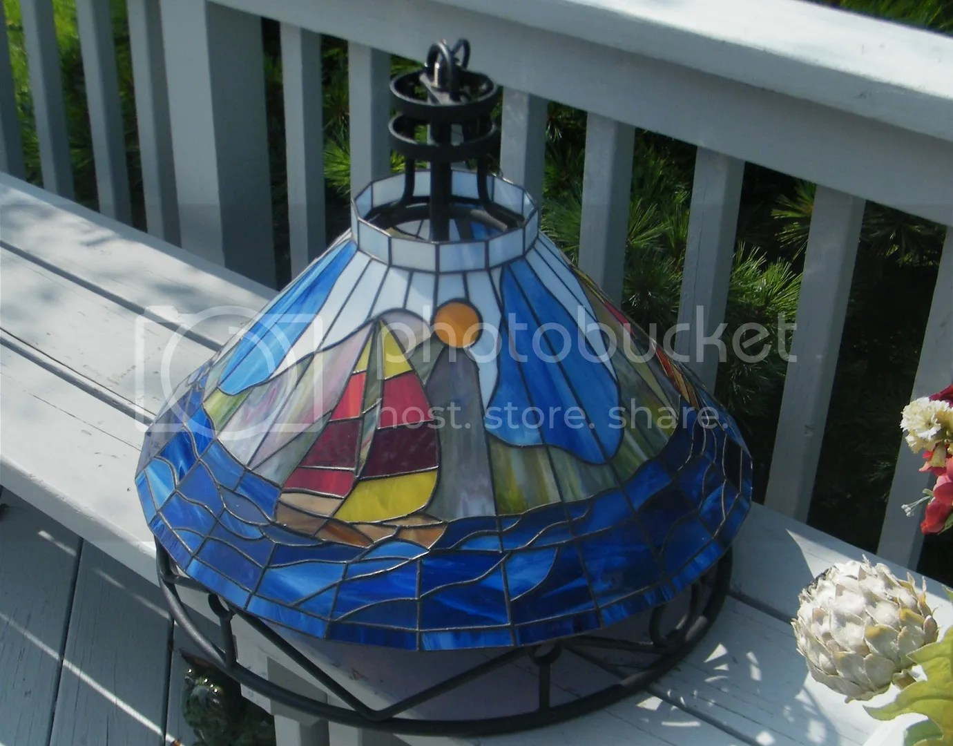 VINTAGE SLAG STAINED GLASS WROUGHT IRON SAIL BOAT HANGING CHANDELIER LAMP LIGHT