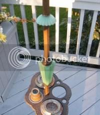 ANTIQUE ART DECO GREEN GLASS ASHTRAY FLOOR SMOKE SMOKING