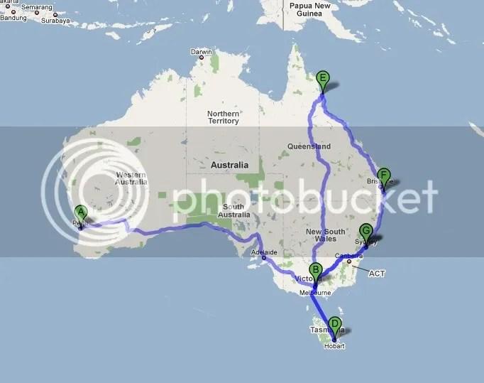(A)Perth - (B)Melbourne - (G)Sydney - (D)Hobart (Tasmania) - (E)Cairns - (F)Gold Coast (Queensland) - (G)Sydney