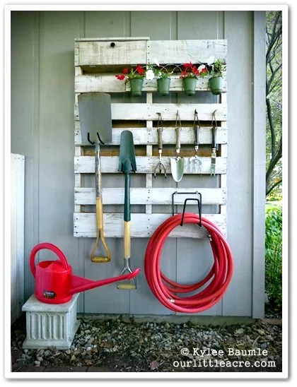 Pallet Projects Whole Pallets Outdoor Yardwork Yard Water Hose Shovel Plants DIY Organization Storage