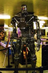A Terminator waits for the subway at Yonge/Bloor station in Toronto