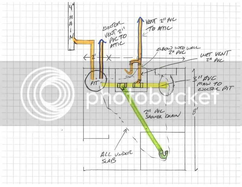 Basement bathroom plumbing drawing