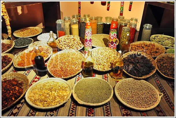 Exhibit on food & spices used in Morocco