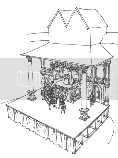 Globe Theatre Stage Drawing Sketch Coloring Page