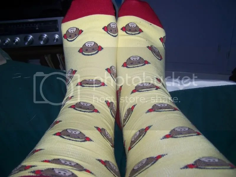I have monkey socks..I have monkey socks, and they're knee socks!
