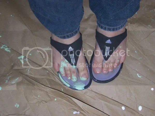 Yeah, those were my favorite flip flops, now covered in green paint, along with my toes.