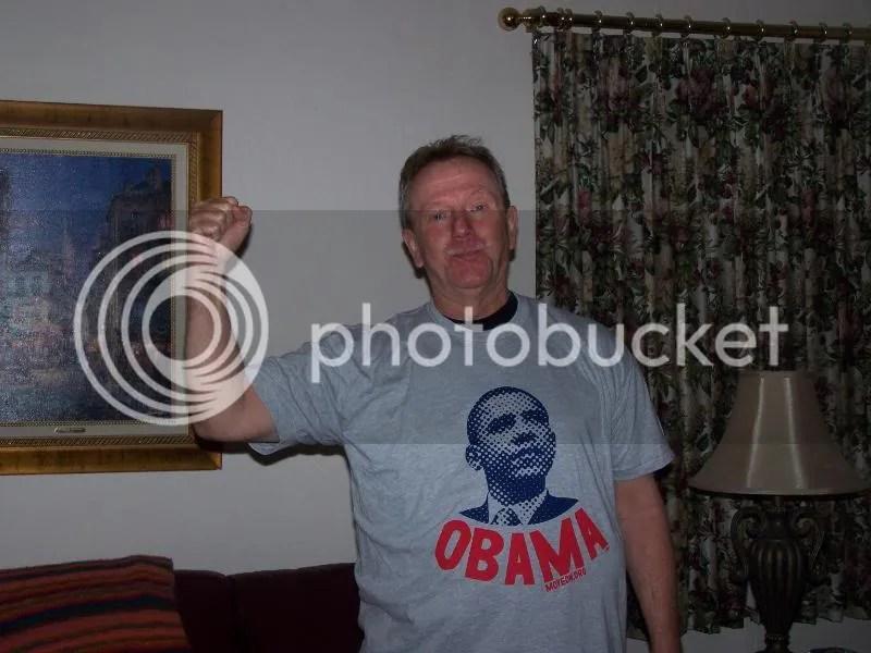 He got an Obama shirt. I'm flabbergasted...