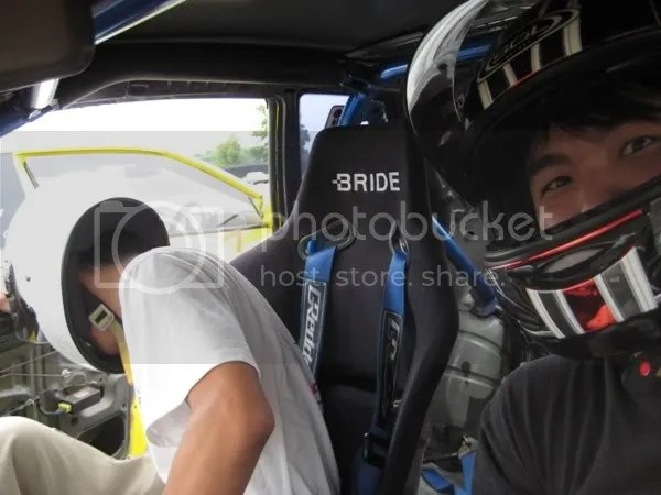 Me in the passenger seat of the Dunlop R32