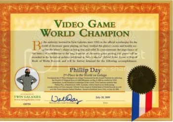 Twin Galaxies Certifificate for 2nd place