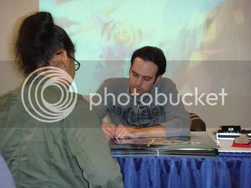 Signing autographs at Bandais booth at NYAF08