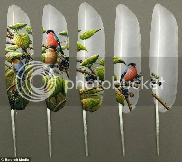 Salah satu karya Ian Davie: Bullfinch Five Feathers