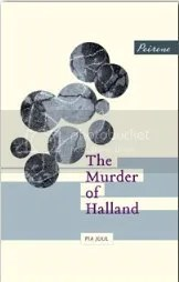 White cover for The Murder of Halland with photo circles which show part of a chalked body outline