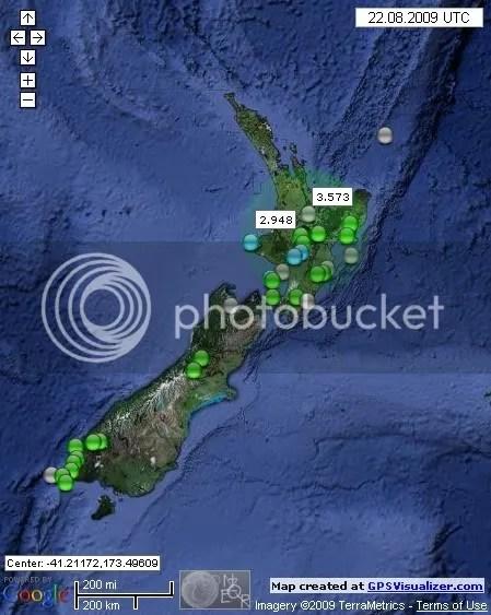 New Zealand Earthquakes August 22nd 2009 UTC