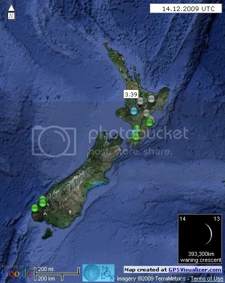 New Zealand Earthquakes 14 December 2009 UTC