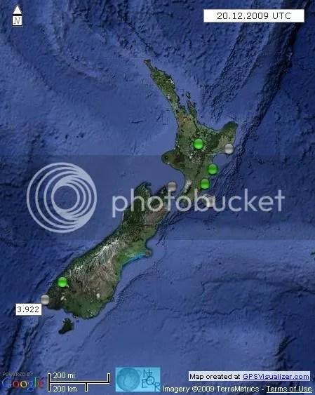 New Zealand Earthquakes 20 December 2009 UTC