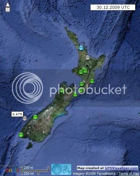 New Zealand Earthquakes 30 December 2009 UTC