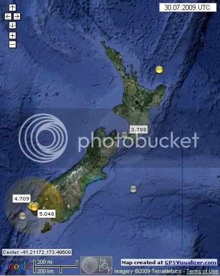 New Zealand Earthquakes July 30th 2009 UTC