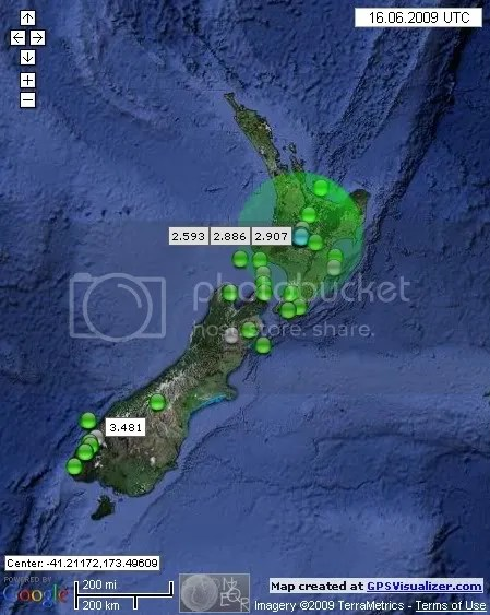 New Zealand Earthquakes June 16th 2009