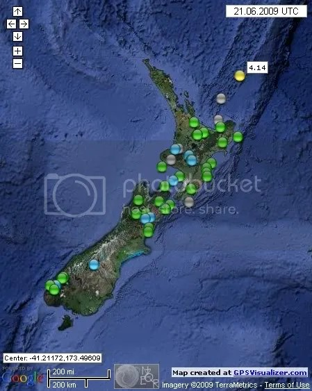 New Zealand Earthquakes June 21st 2009