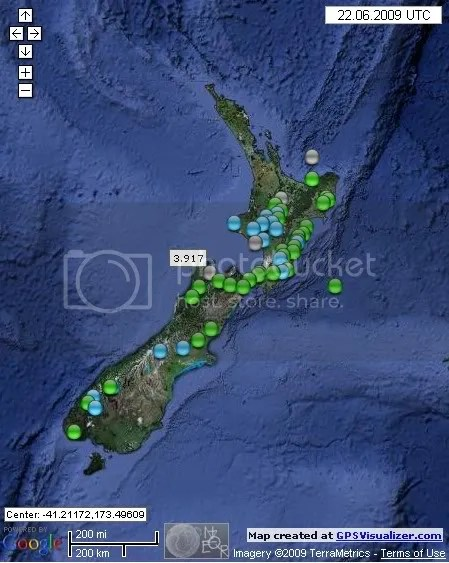 New Zealand Earthquakes June 22nd 2009