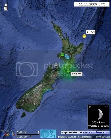 New Zealand Earthquakes 11 November 2009 UTC