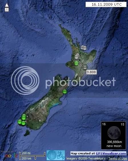New Zealand Earthquakes 16 November 2009 UTC