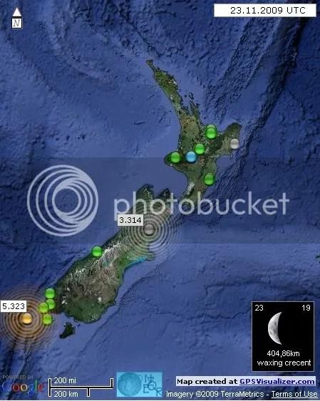 New Zealand Earthquakes 23 November 2009 UTC