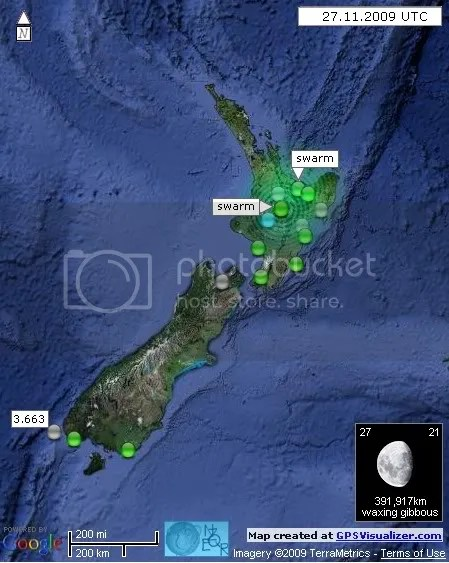 New Zealand Earthquakes 27 November 2009 UTC