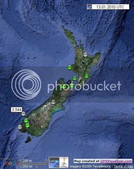 New Zealand Earthquakes 13 January 2010 UTC