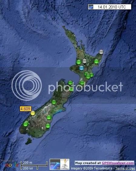 New Zealand Earthquakes 14 January 2010 UTC