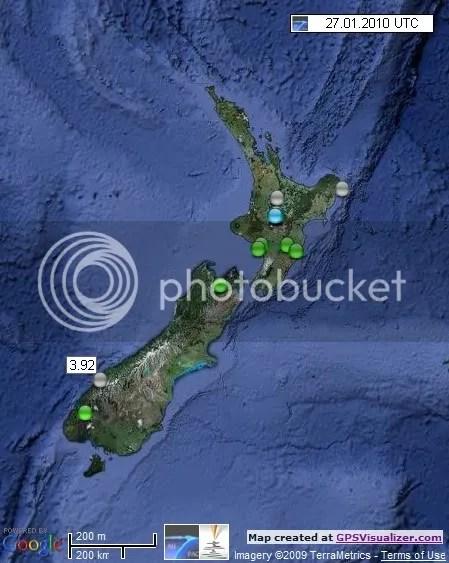 New Zealand Earthquakes 27 January 2010 UTC