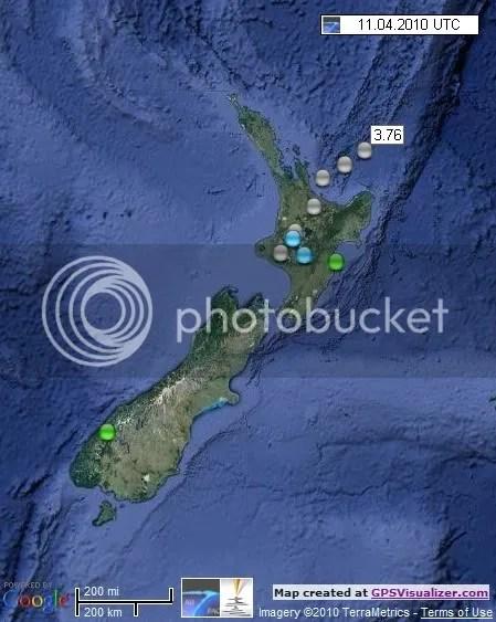 New Zealand Earthquakes 11 April 2010 UTC