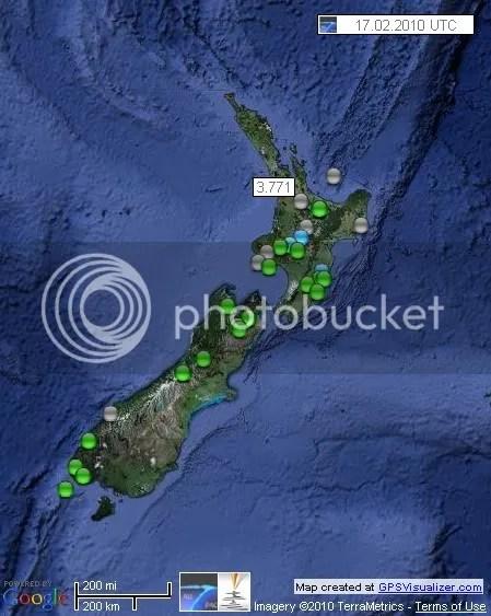 New Zealand Earthquakes 17 February 2010 UTC