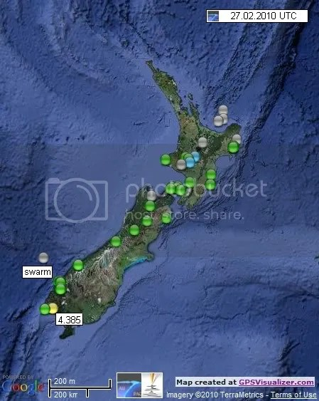 New Zealand Earthquakes 27 February 2010 UTC