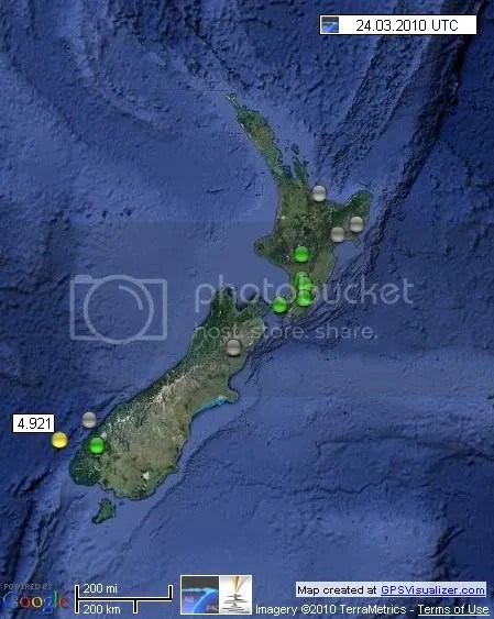 New Zealand Earthquakes 24 March 2010 UTC