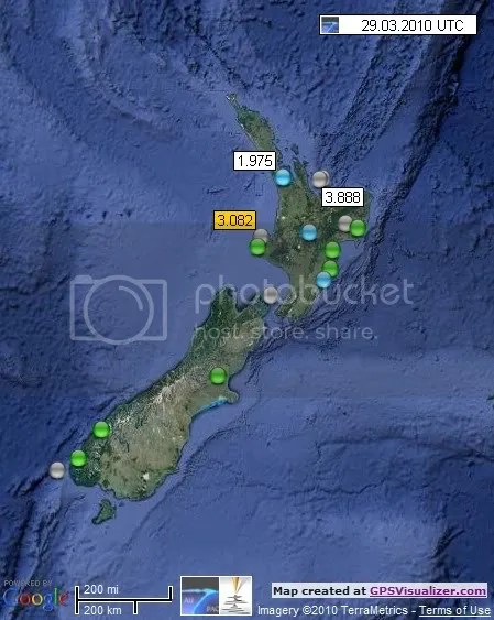New Zealand Earthquakes 29 March 2010 UTC